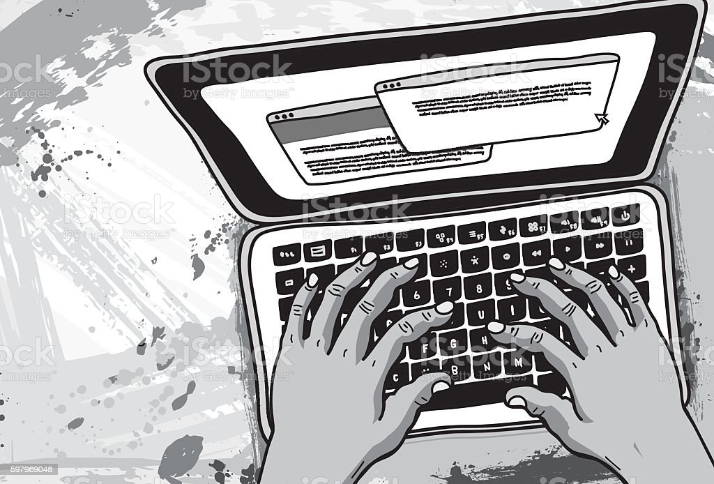 Typing on Laptop Illustration vector art illustration