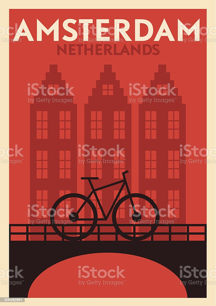 Typographic Amsterdam City Poster Design vector art illustration