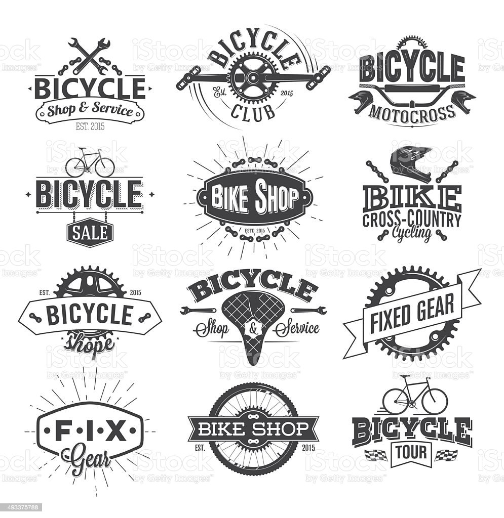 Typographic Bicycle Label Design and Logo vector art illustration