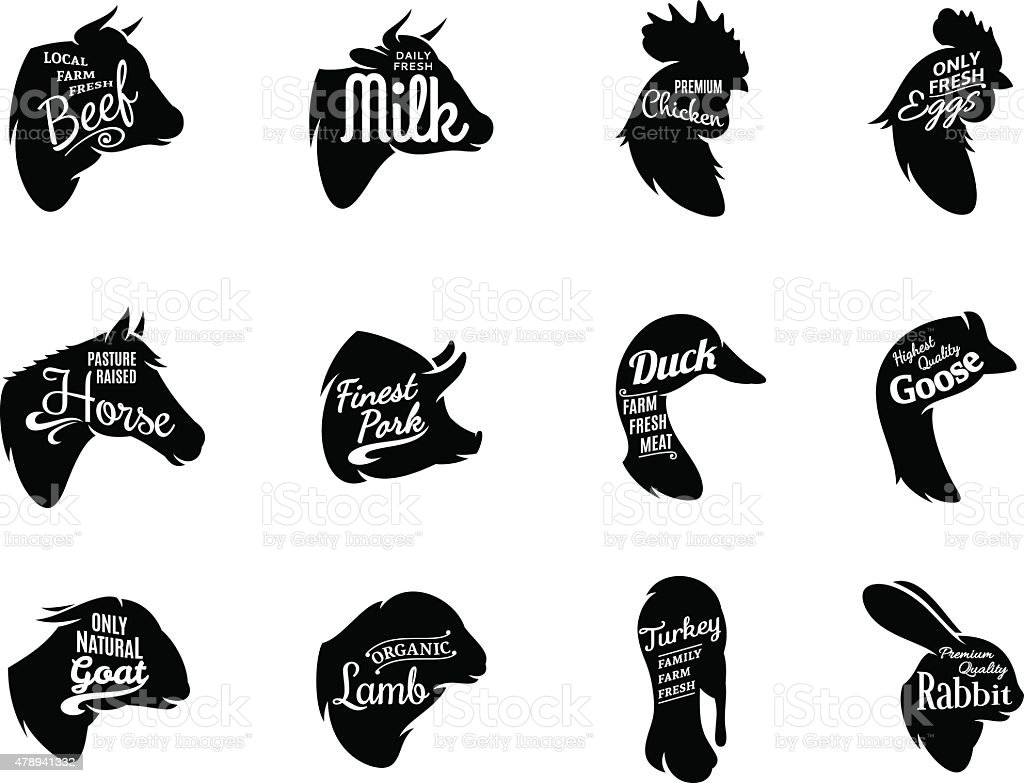Typographic Farm Enimals Icons Meat Labels vector art illustration