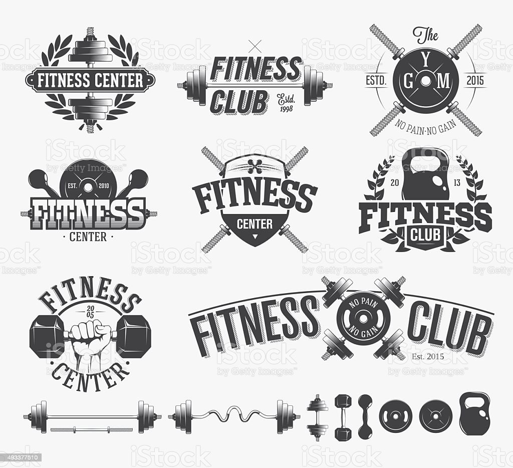 Typographic Fitness Emblems vector art illustration