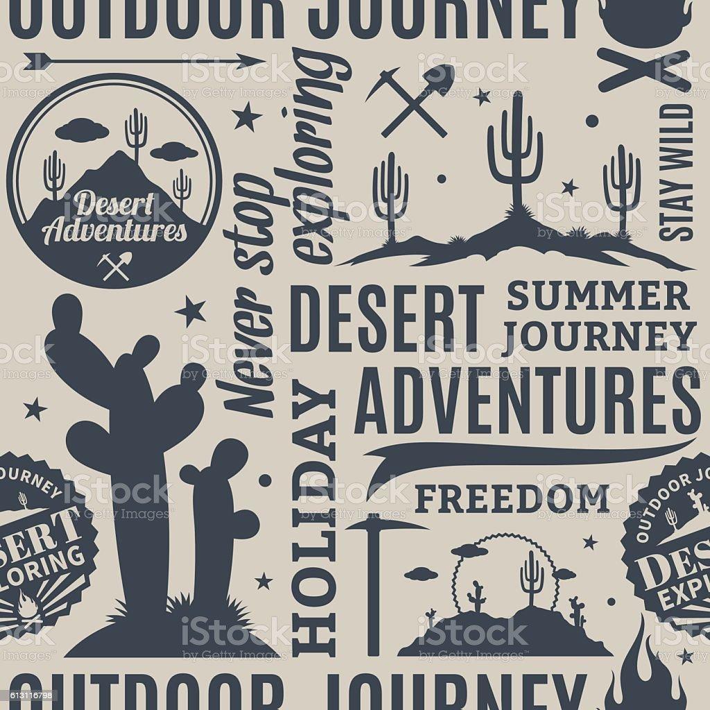 Typographic vector desert adventures seamless pattern vector art illustration