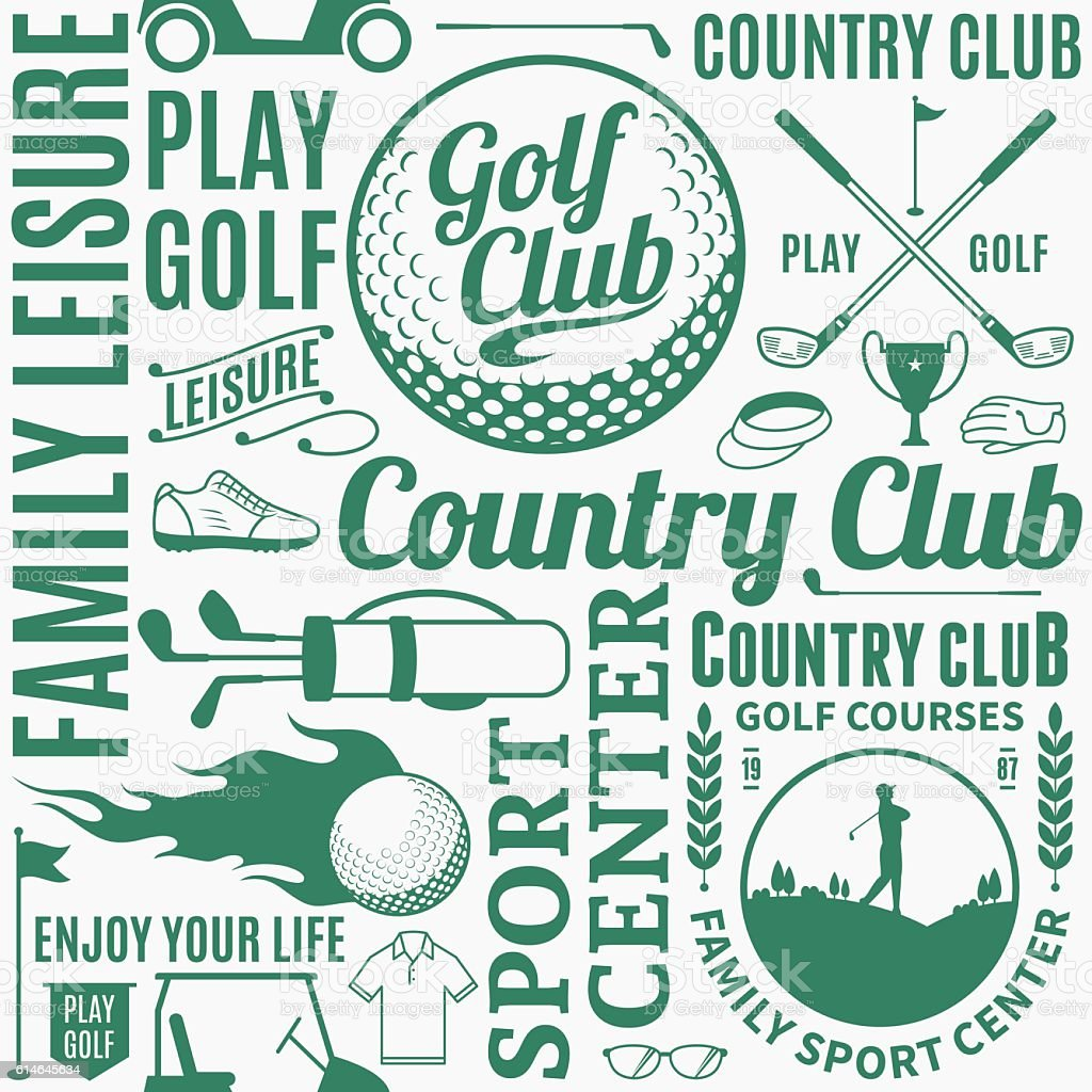 Typographic vector golf seamless pattern or background vector art illustration