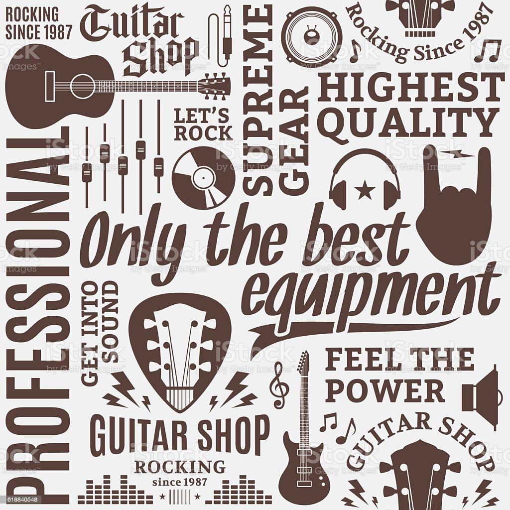 Typographic vector guitar shop seamless pattern vector art illustration
