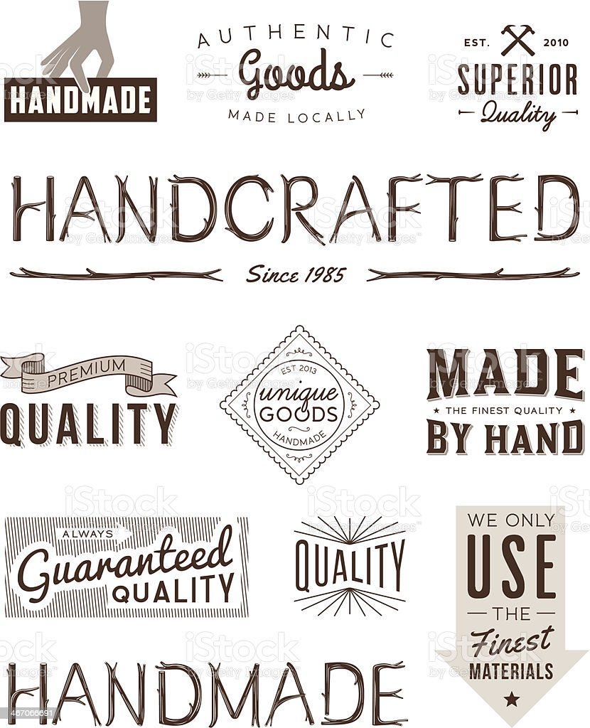 Typography Badges Brown vector art illustration