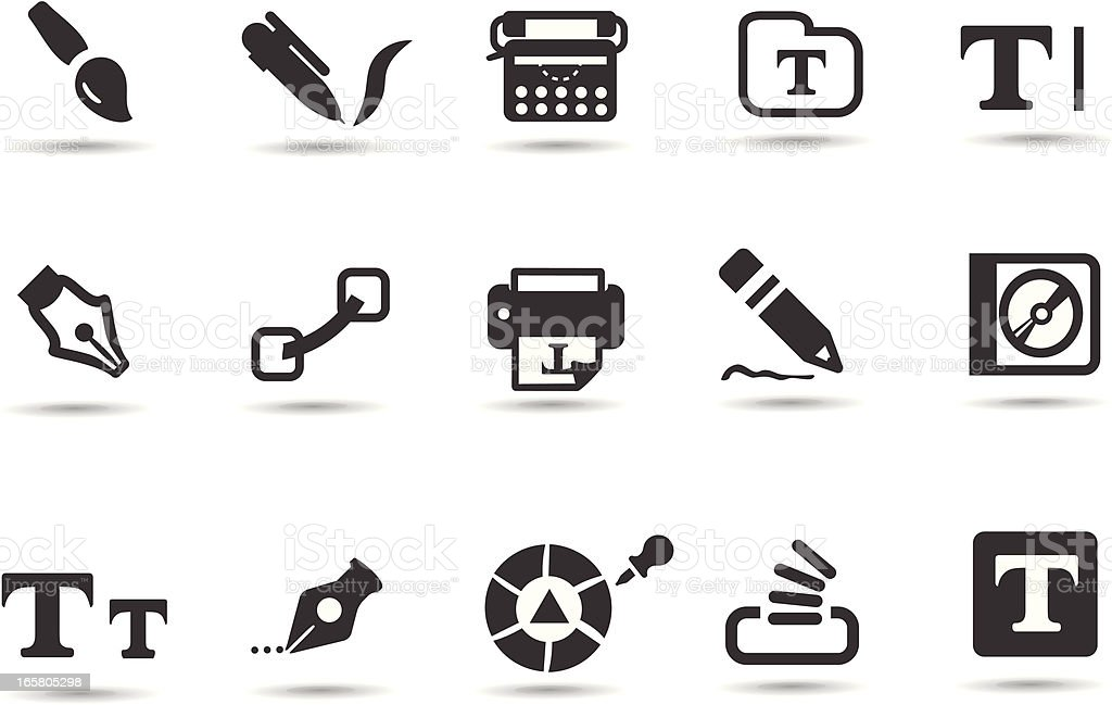 Typography Icons royalty-free stock vector art