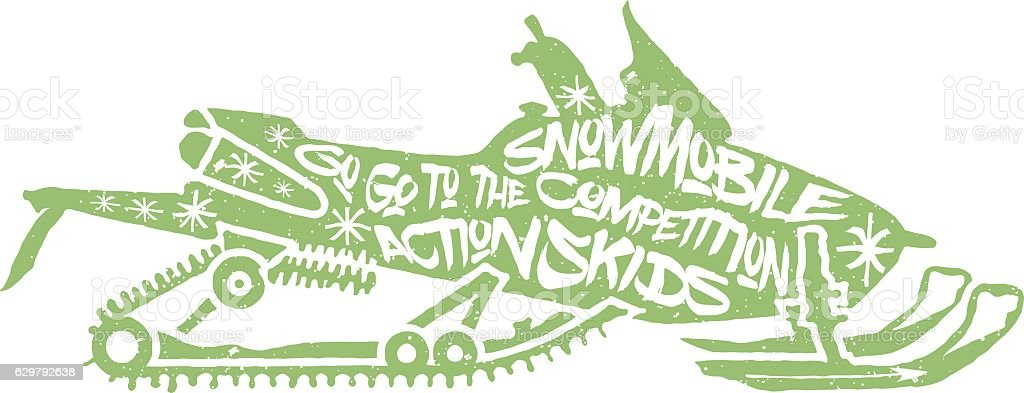 Typography lettering snowmobile vector art illustration