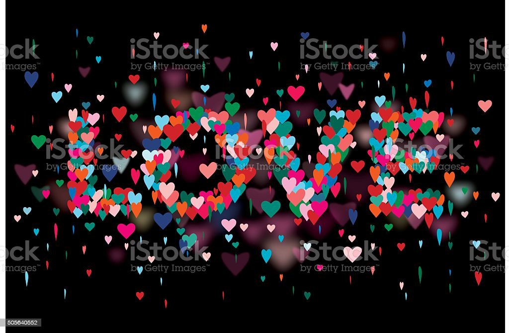 Typography Love Colorful hearts black background. vector art illustration