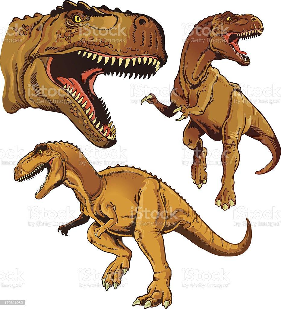 Tyrannosaur Set of Three royalty-free stock vector art
