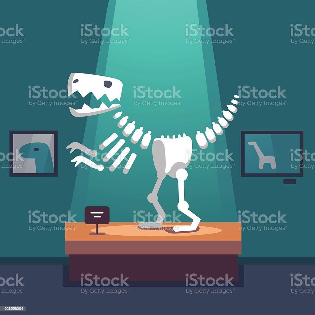 Tyrannosaurus dinosaur skeleton at museum room vector art illustration