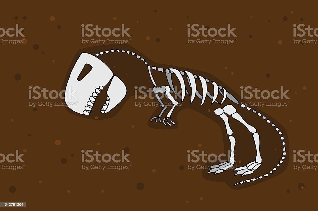 Tyrannosaurus rex fossil vector art illustration