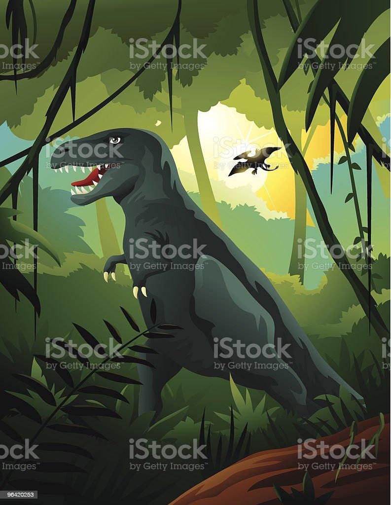 Tyrannosaurus Rex in Jungle vector art illustration