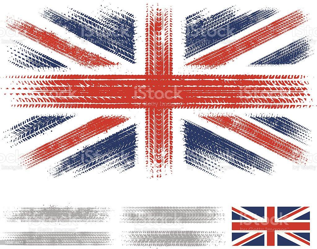 UK tyre tracks flag royalty-free stock vector art