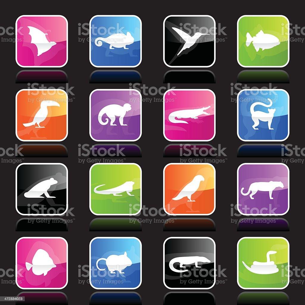 Ubergloss Icons - Exotic Animals vector art illustration