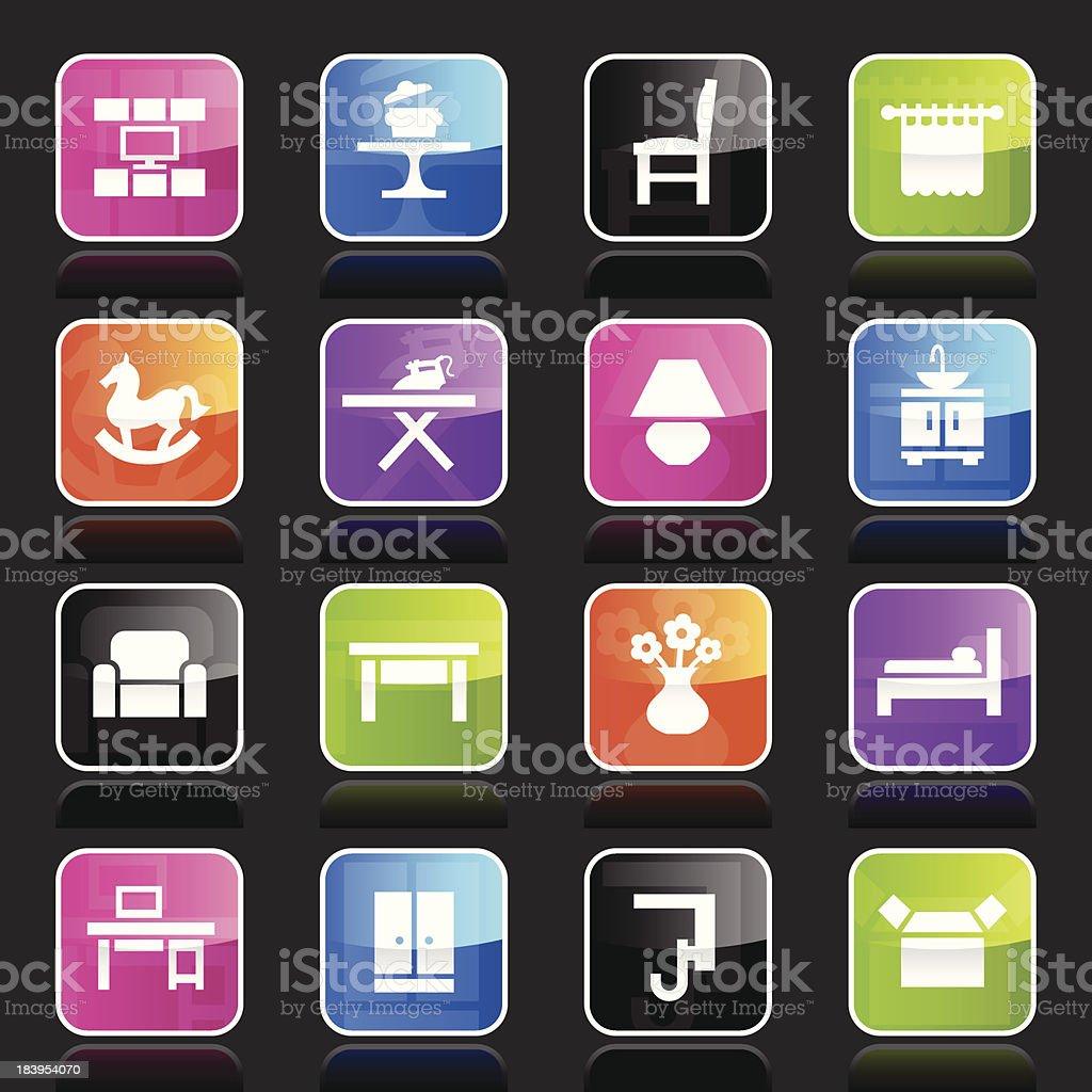 Ubergloss Icons - Furniture Categories vector art illustration