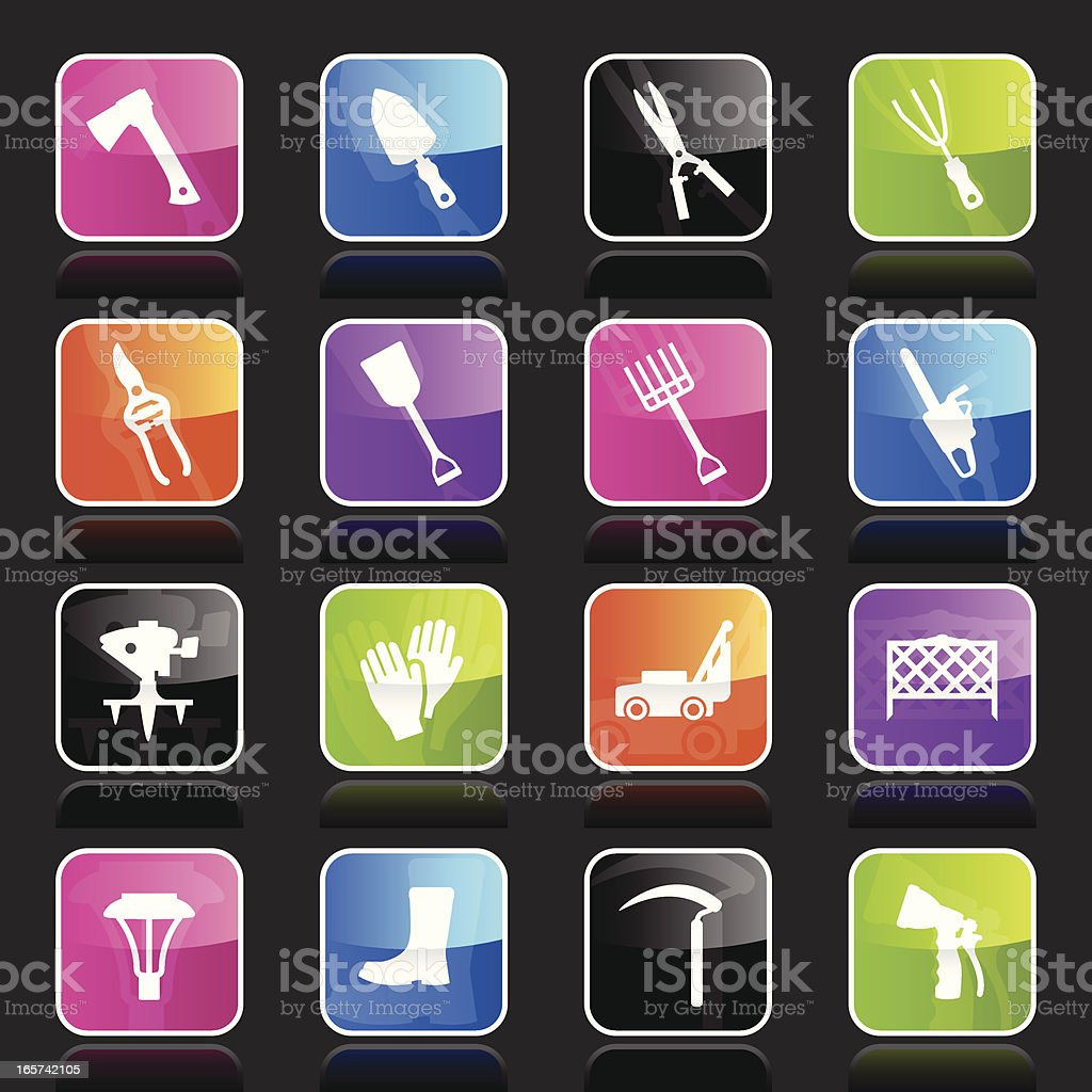 Ubergloss Icons - Lawn & Garden Tools royalty-free stock vector art