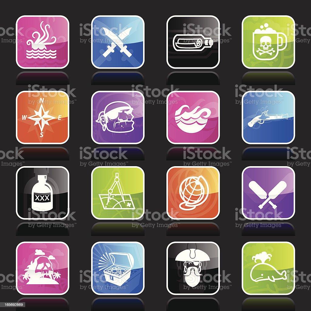 Ubergloss Icons -  Pirates royalty-free stock vector art
