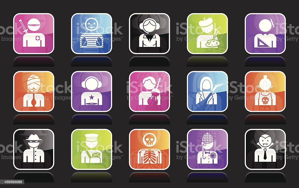 Ubergloss Icons - Professions vector art illustration