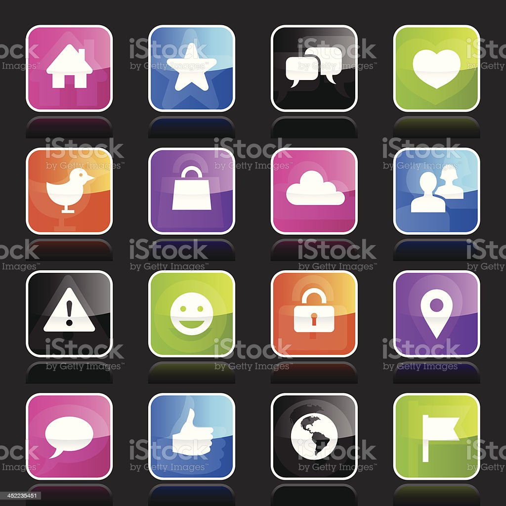 Ubergloss Icons - Social Network royalty-free stock vector art