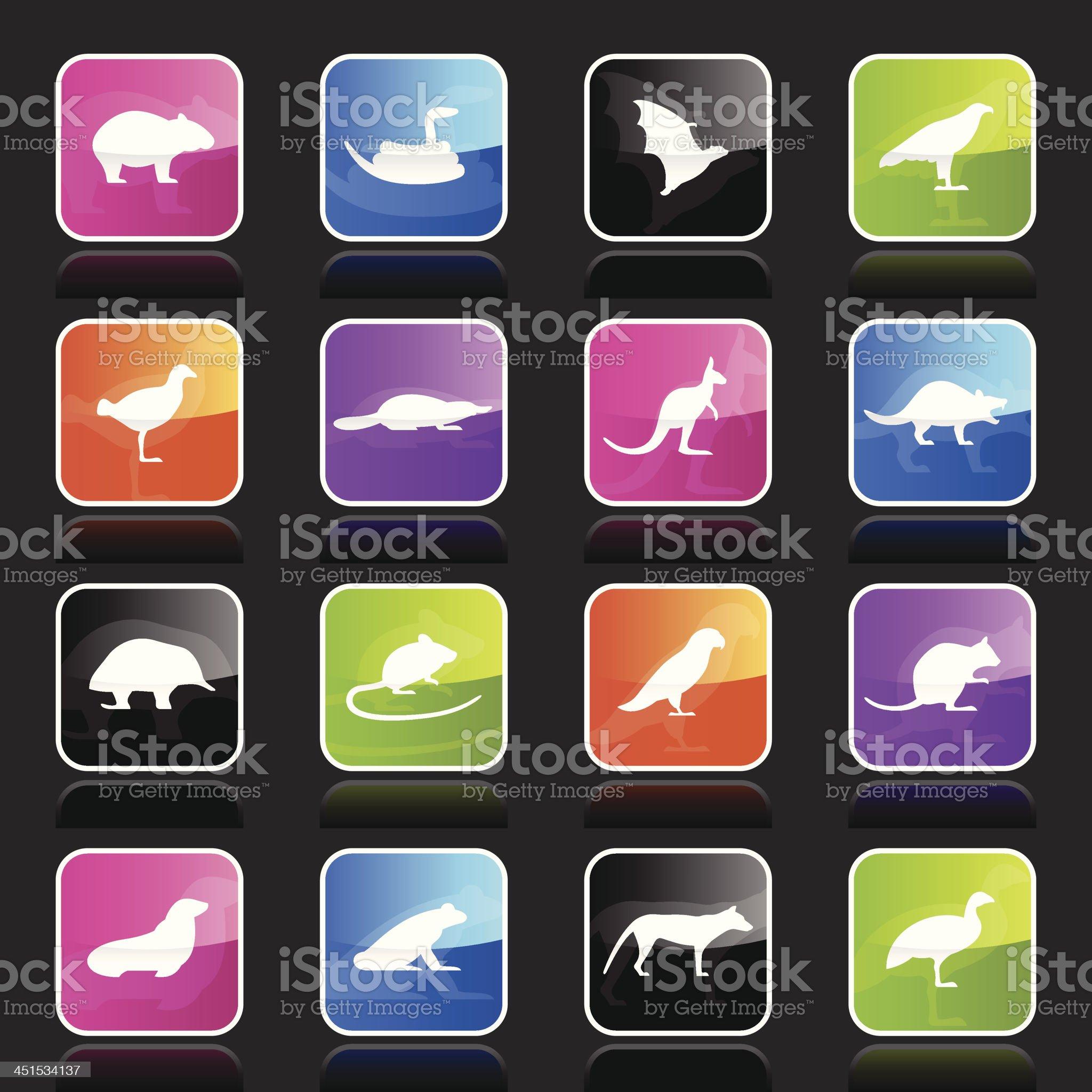 Ubergloss Icons - Tasmanian Animals royalty-free stock vector art