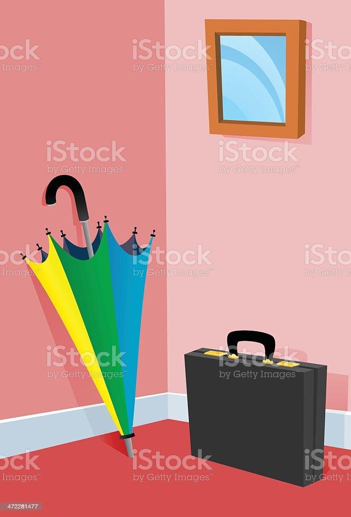 Ubrella and Briefcase vector art illustration