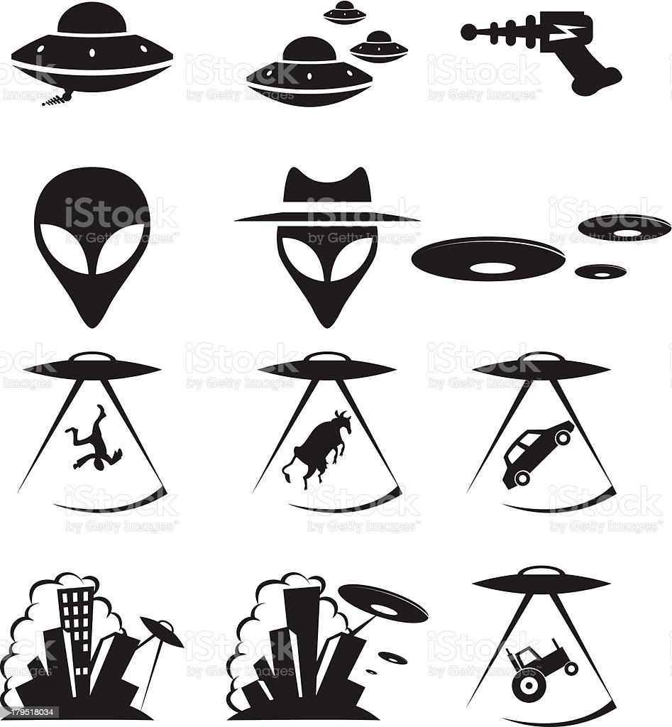 Ufo icons royalty-free stock vector art