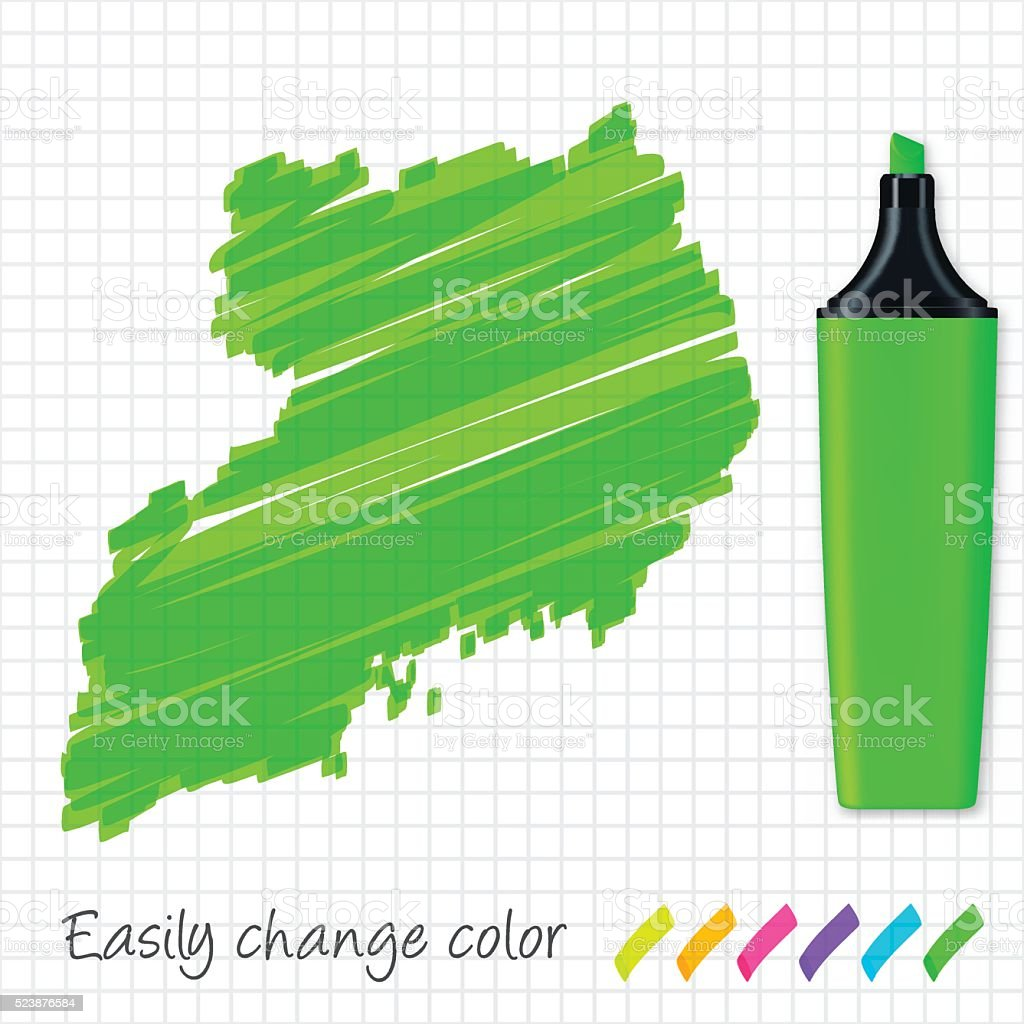 Uganda map hand drawn on grid paper, green highlighter vector art illustration