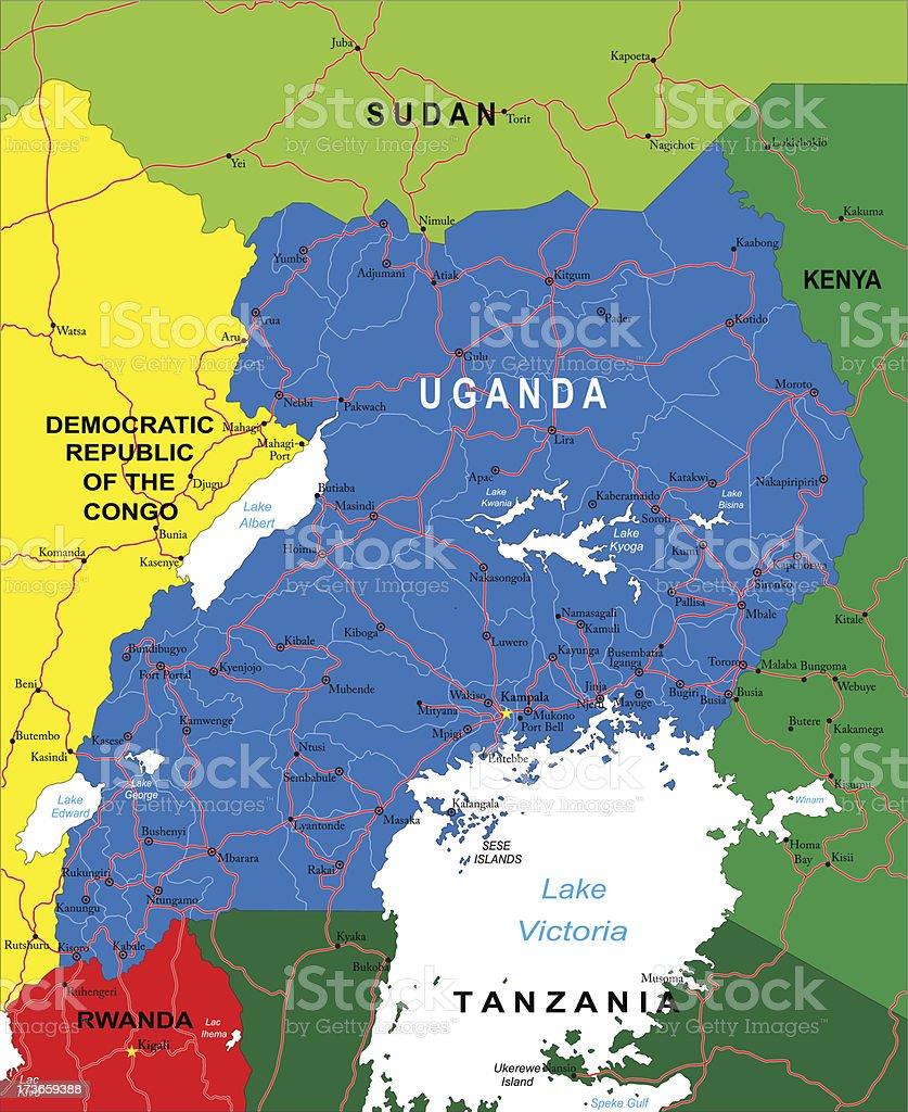 Uganda map vector art illustration