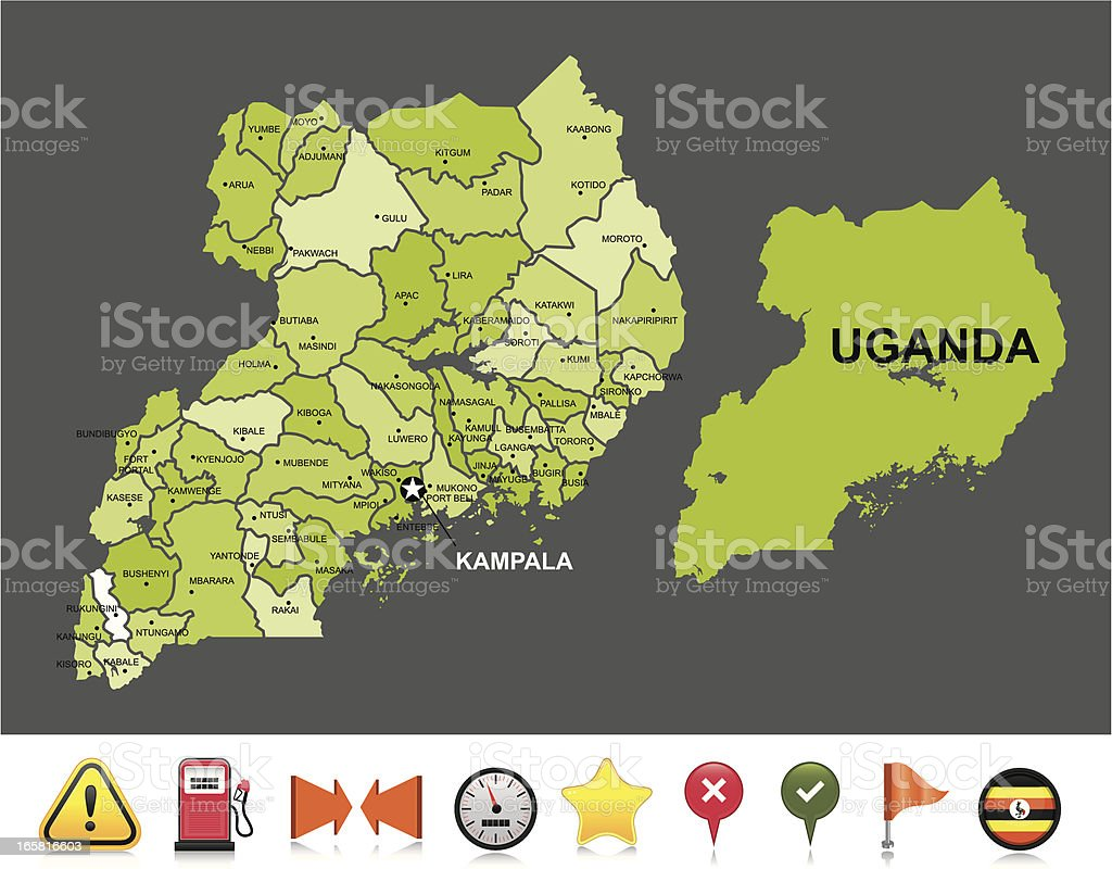 Uganda navigation map royalty-free stock vector art