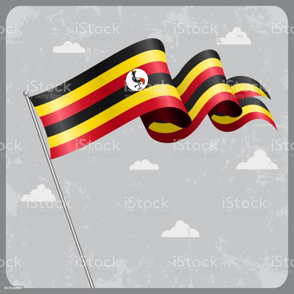 Ugandan wavy flag. Vector illustration. vector art illustration