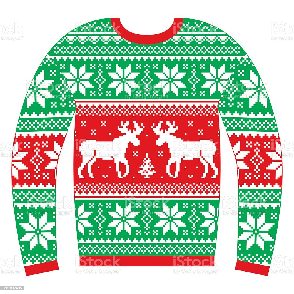 Ugly Christmas jumper or sweater with reindeer and snowflakes vector art illustration