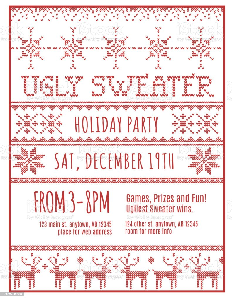 Ugly Christmas sweater party flyer vector art illustration