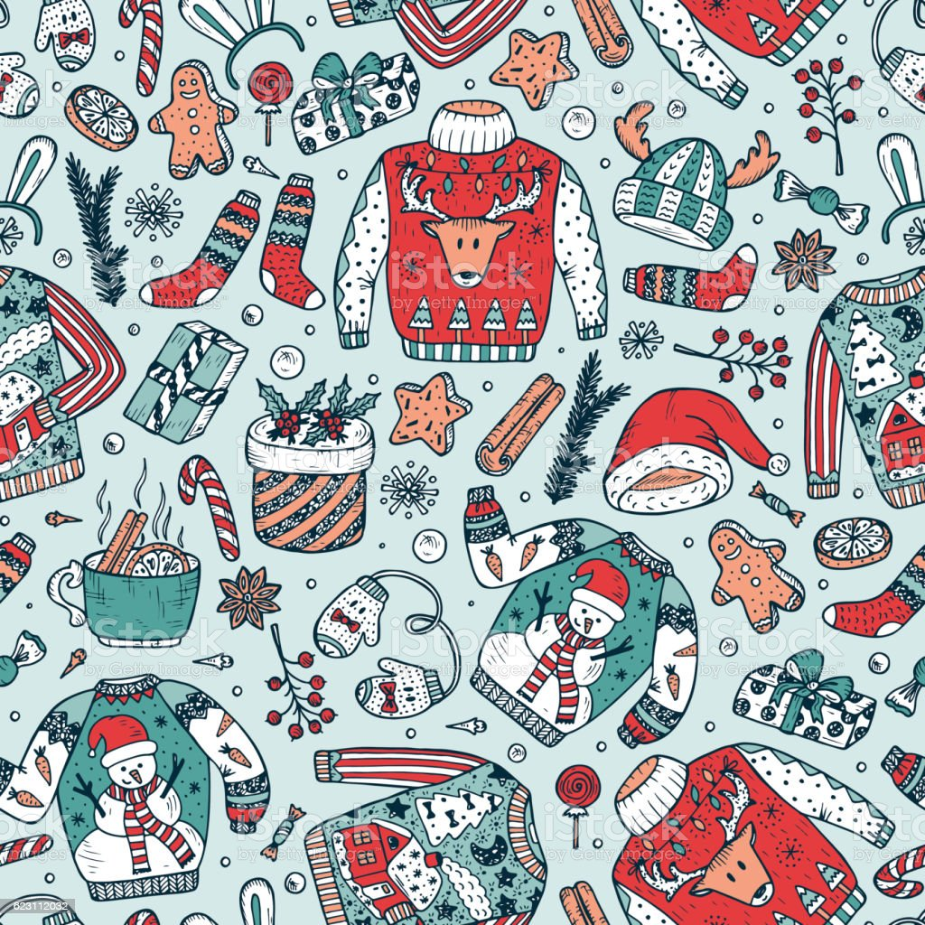 Ugly Christmas Sweater Party. Vector Xmas Seamless pattern. Holiday background vector art illustration