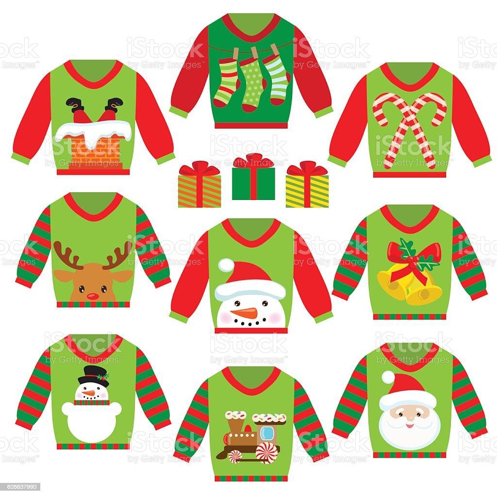 Ugly christmas sweater vector cartoon illustration vector art illustration