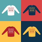 Ugly Christmas sweaters or jumpers with pixel deers icons set