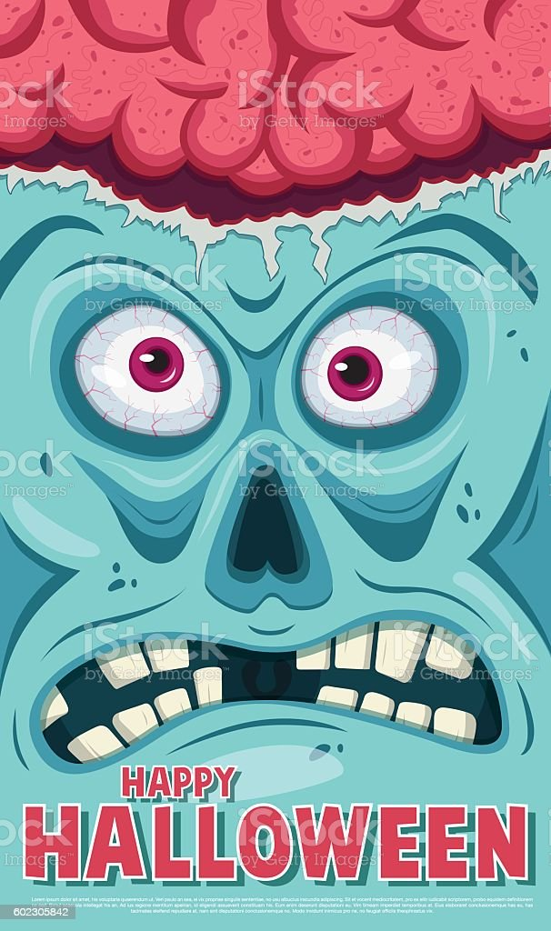 Ugly face with open brain. Poster vector art illustration