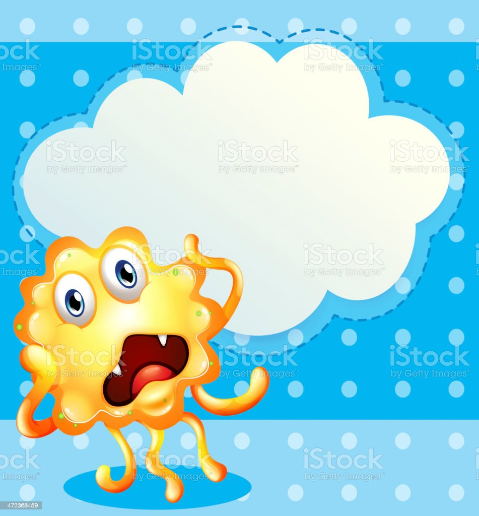 ugly monster in front of the empty cloud template royalty-free stock vector art