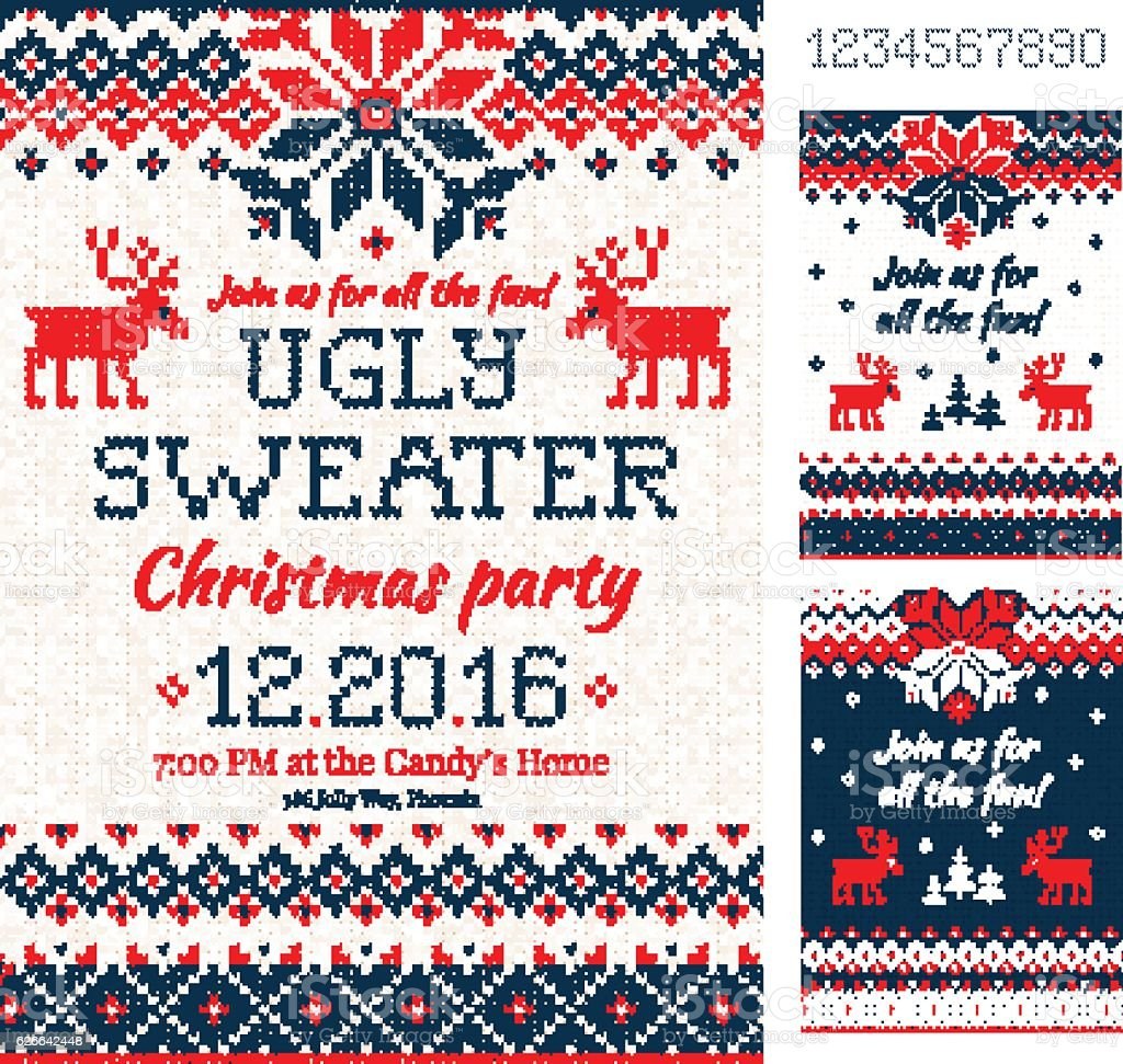 Ugly Sweater Christmas Party cards. Knitted pattern. Scandinavia vector art illustration