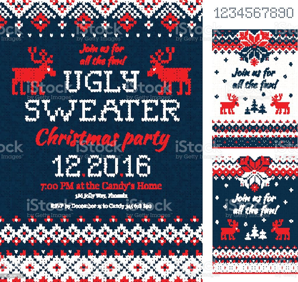 Ugly Sweater Christmas Party cards. Knitted pattern. Scandinavian vector art illustration