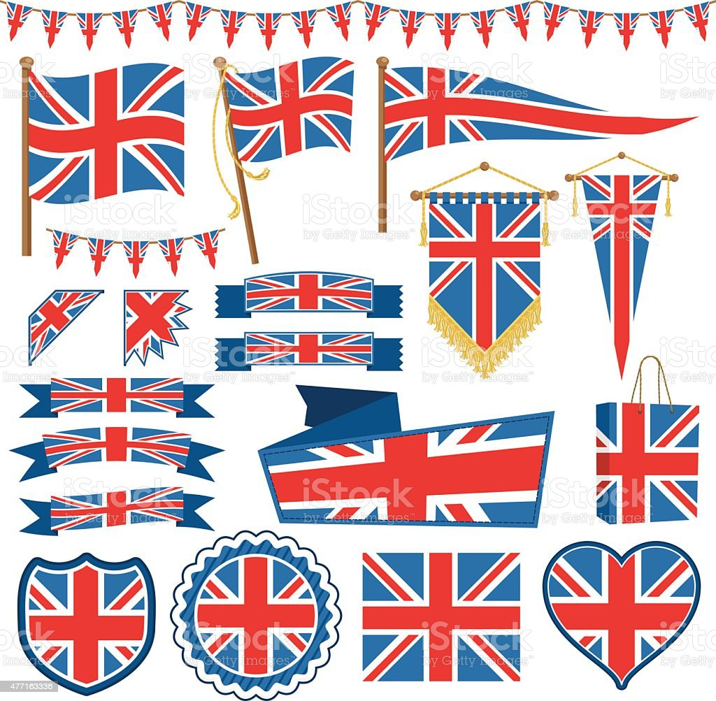 uk flag decorations vector art illustration