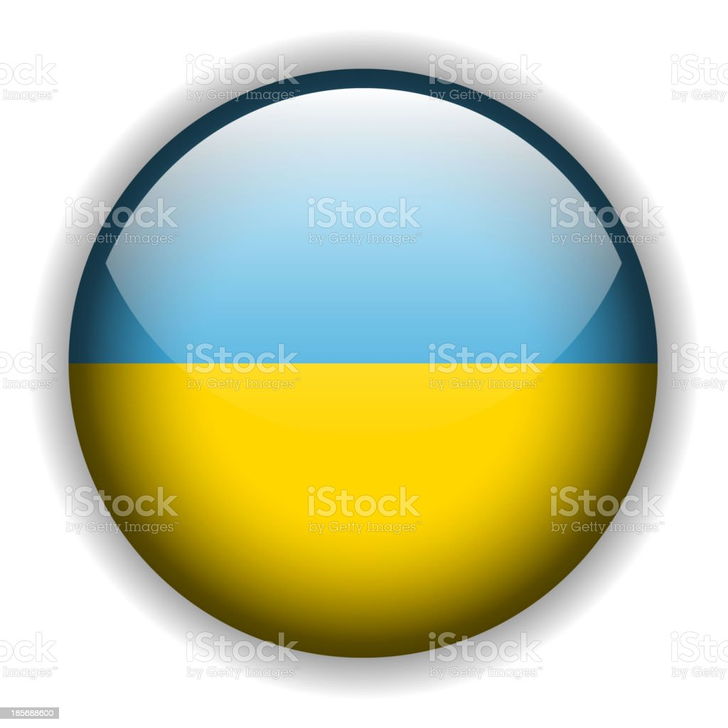 Ukraine flag button, vector royalty-free stock vector art