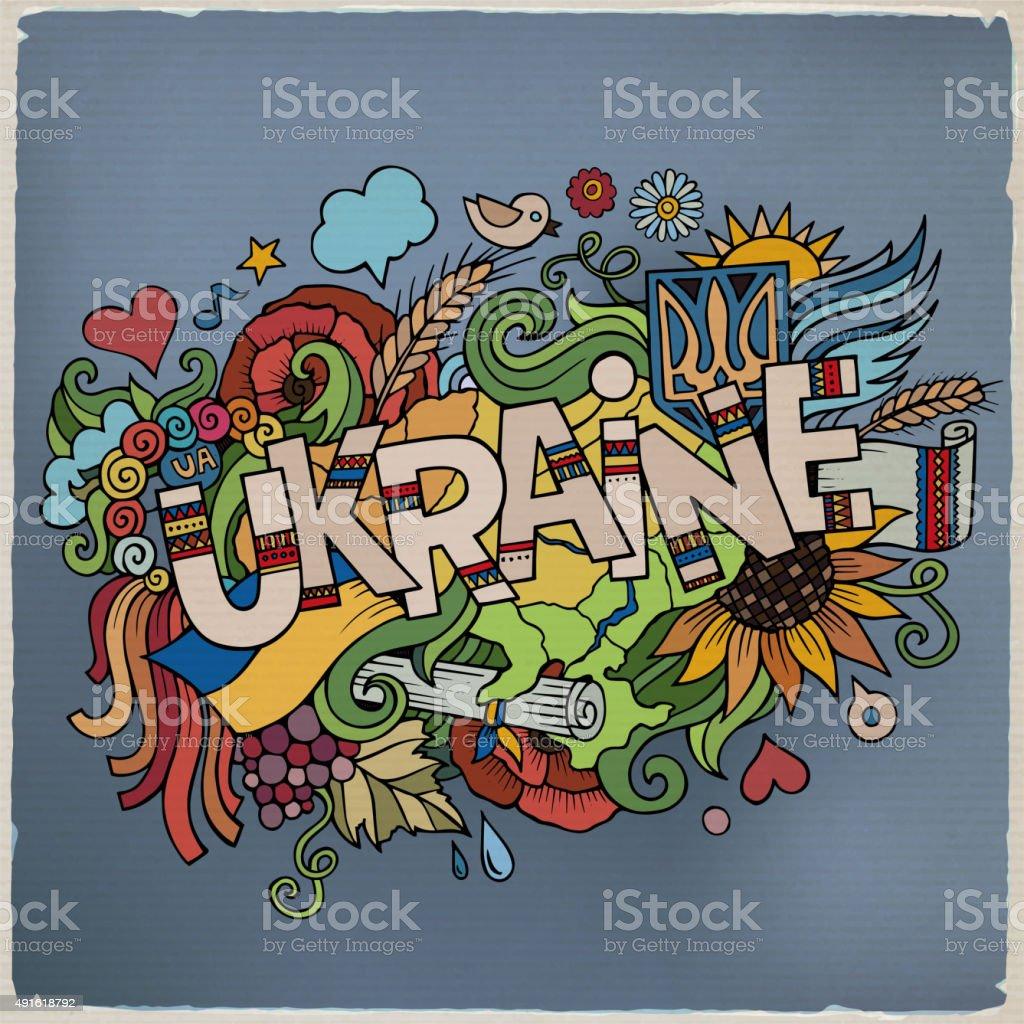 Ukraine hand lettering and doodles elements background vector art illustration