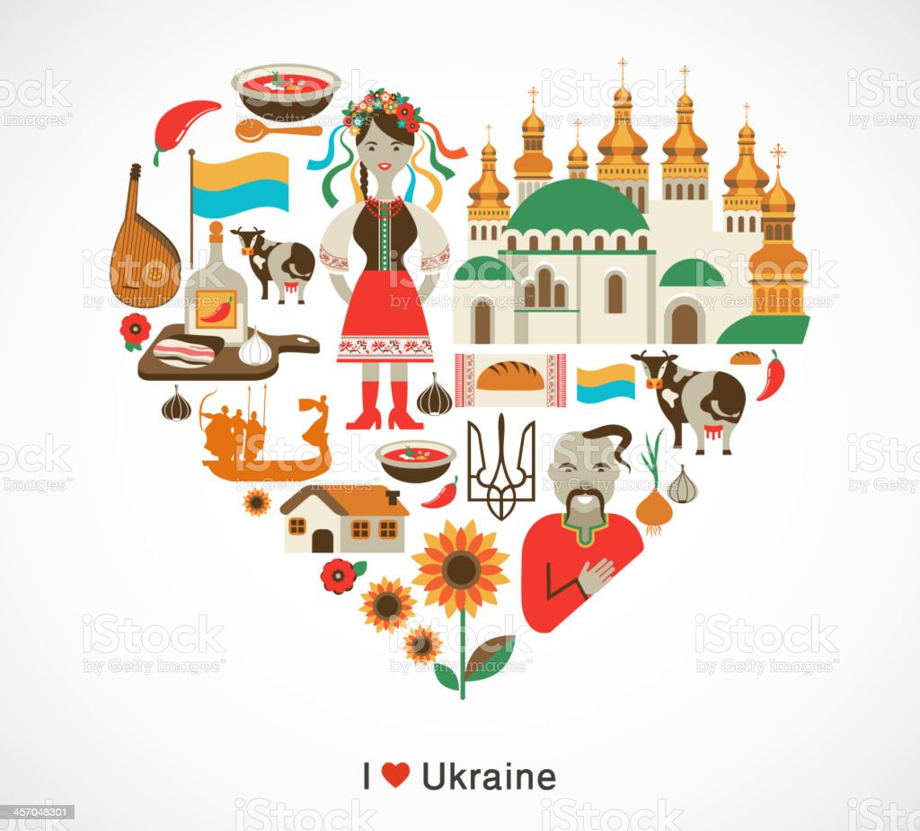 Ukraine love - heart with icons and elements royalty-free stock vector art