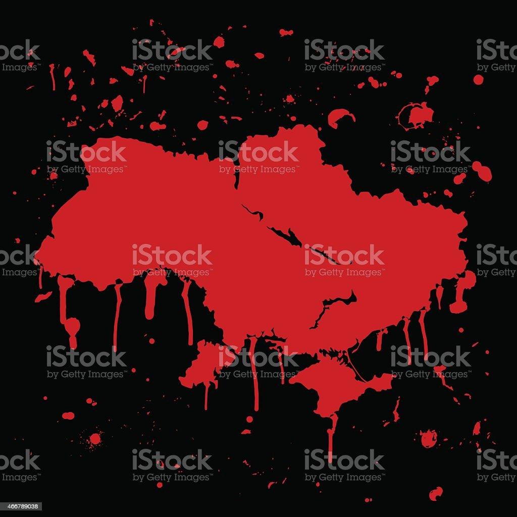 Ukraine map graffiti red splats on black wall vector art illustration