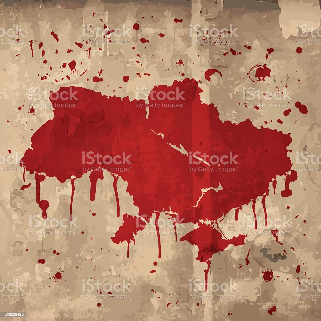 Ukraine map graffiti red splats on wooden plank vector art illustration