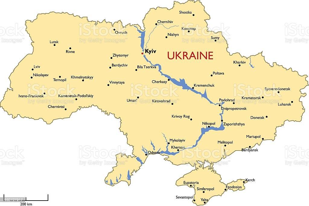 Ukraine map vector art illustration