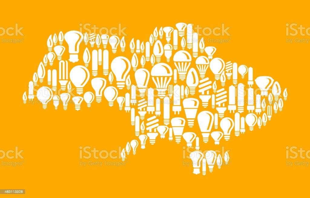 Ukraine on Vector Lightbulb Pattern Background vector art illustration