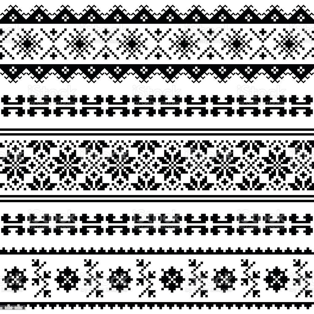 Ukrainian, Belarusian folk art embroidery pattern or print in black vector art illustration