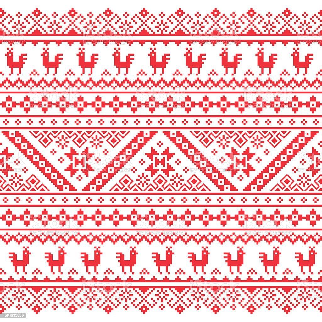 Ukrainian, Belarusian red embroidery seamless pattern vector art illustration