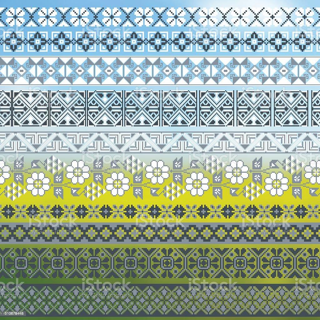 Ukrainian embroidered borders collection vector art illustration